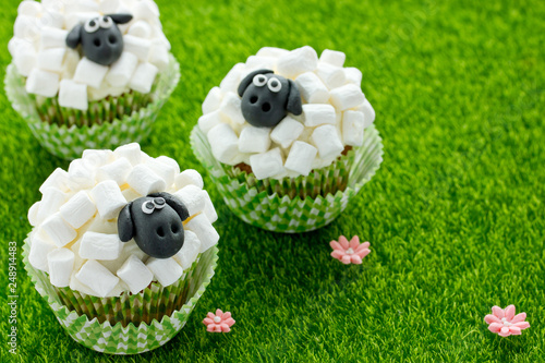 Easter Sheep Cupcakes On Green Grass Background Homemade Cup Cakes Shaped Funny Sheeps With Marshmallow