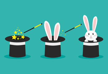 Magician's black hat, magic hat with bunny ears. Vector flat illustration in cartoon style. Fotomurales