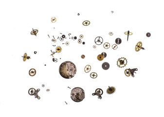 parts of clock mechanism on  white background