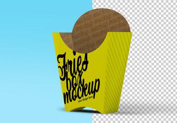 French Fries Cardboard Packaging Mockup