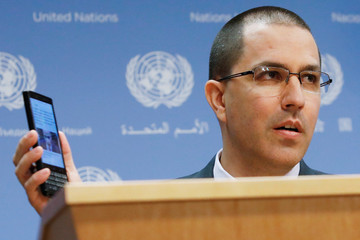 Venezuela Minister of Foreign Affairs Jorge Arreaza displays his cellular device as he delivers remarks in the press briefing room at the United Nations Headquarters in New York