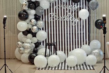 decorative photo sphere with balloons. Holiday zone for children.