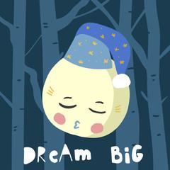 Cute cartoon sleeping moon