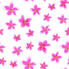 Seamless pattern with bright pink flowers. Floral decor of plumeria. Elegant tropical floral print for fabric design, woman dress, background, wrapping paper, cover.