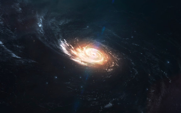 Milky way galaxy, cluster of stars in deep space. Science fiction art. Elements of this image furnished by NASA
