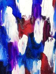 unusual blue red white abstraction with acrylics on canvas. modern Art. beautiful background