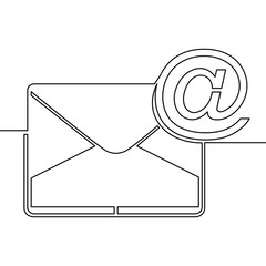 One continuous line drawing of email icon concept