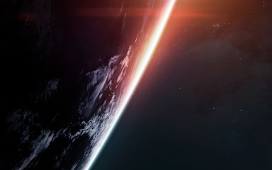 Wall Mural - Earth planet. Sunrise in space. Science fiction art. Elements of this image furnished by NASA