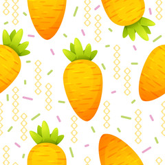 Carrot and memphis seamless pattern on white background