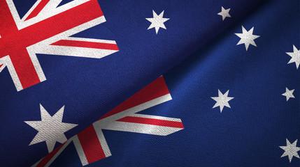 Australia two flags textile cloth, fabric texture