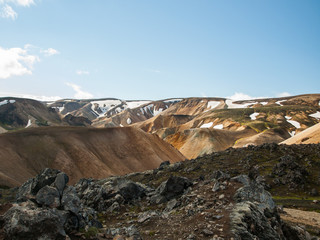 Scenic view on colorful mountains with snow. Perfect destination for hikers. The Legendary Laugavegur Trek, Iceland.