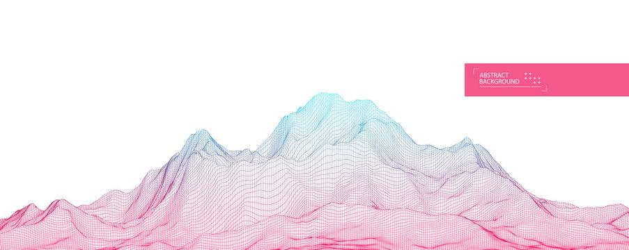 Wireframe landscape background. Futuristic vector illustration.