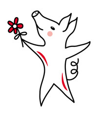 The pig is a symbol of 2019. Dancing piggy. Black and white and red. Colorful polygonal drawing.  Vector picture.