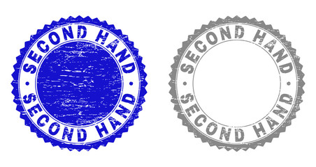 Grunge SECOND HAND stamp seals isolated on a white background. Rosette seals with grunge texture in blue and gray colors. Vector rubber watermark of SECOND HAND title inside round rosette. Wall mural