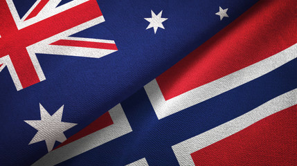 Australia and Norway two flags textile cloth, fabric texture