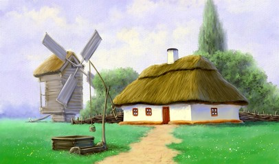 Digital paintings landscape, traditional house in the village. Fine art.