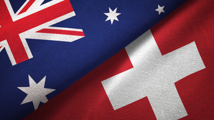 Australia and Switzerland two flags textile cloth, fabric texture