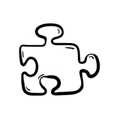 Beautiful hand drawn fashion puzzle icon. Hand drawn black sketch. Sign / symbol / doodle. Isolated on white background. Flat design. Vector illustration