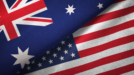 Australia and United States two flags textile cloth, fabric texture