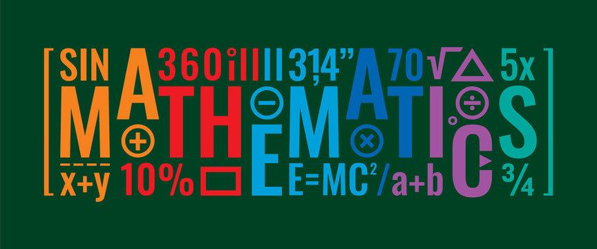 mathematics word on anthracite background and mathematical symbols