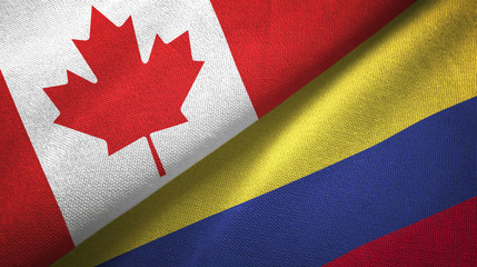 Canada and Colombia two flags textile cloth, fabric texture