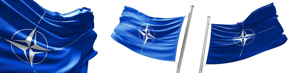 Set flags of NATO  waving in wind. Isolated on white background. 3D illustration