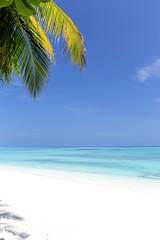 White sandy beach on Maldives island
