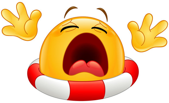 Drowning emoticon with a lifebuoy calling for help