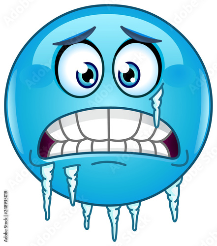 Blue Cold Freezing Face Emoticon With Icicles Clinging To Its Jaw