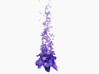 Dark purple shattering pieces of glass exploding up