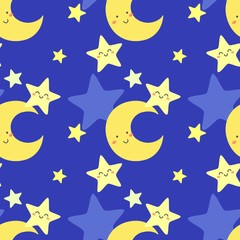 Cute pattern with moon and star. Vector illustration.