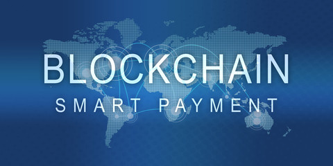 wmb8 WorldMapBanner wmb - Text - Blockchain Smart Payment: block chain concept - abstract illustration - worldmap with dots (solutions / financial transactions / digital banking) - 2to1 g7211
