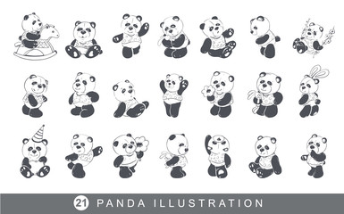 Set of cute and funny panda. Vector illustration