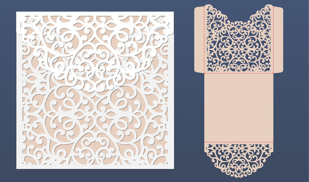 Laser cut wedding invitation card template vector. Pocket envelope with abstract ornament. Open card. Suitable for greeting cards, invitations, menus.