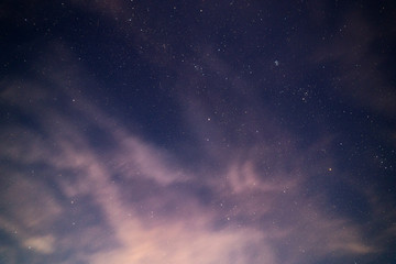 natural starry sky and motion blurred clouds background without montage