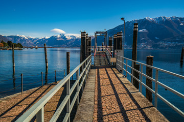 Ship station in Locarno city during winter day, Switzerland