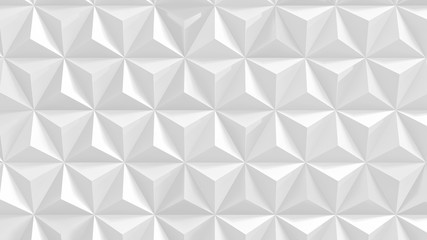 Abstract white triangular background. Extruded triangle tiles