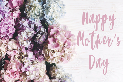 Happy Mother's Day text sign on beautiful hydrangea flowers on rustic white wood, flat lay. Colorful pink,blue,green,white border of hydrangea. Stylish floral greeting card.