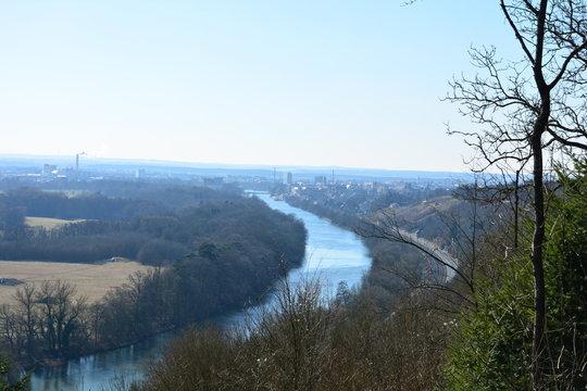 Schweinfurt Panorama Blick von der Peterstirn im Herbst in Franken
