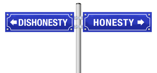 HONESTY and DISHONESTY, written on two blue signposts - symbol for sincerity, truthfulness, frankness, and for deception, hypocrisy, insincerity, mendacity - isolated vector over white.