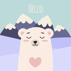 Cute Bear vector print, baby shower card. Polar teddy with hello write cartoon illustration, greeting card, kids cards for birthday poster or banner, cartoon invitation. Mountains on background