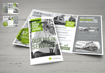Gay and White Trifold Brochure Layout with Green Accents