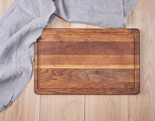 Empty old wooden kitchen cutting board