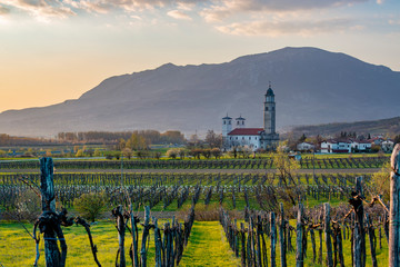 Beautiful evening countryside landscape in Vipava valley, Slovenia Fototapete