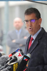 """Uttam Dhillon, acting administrator of the Drug Enforcement Administration (DEA), speaks after the trial of Mexican drug lord Joaquin Guzman, known as """"El Chapo"""", at the Brooklyn Federal Courthouse, in New York"""