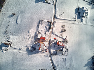 Beautiful panoramic aerial drone view panorama to the to the Istebna - large village and the seat of Gmina Istebna, Cieszyn County in Silesian Voivodeship, southern Poland