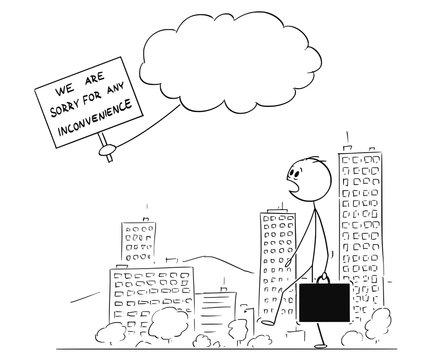 Cartoon stick figure conceptual drawing of man walking on the street and astonished is watching apology message from god or world creator.