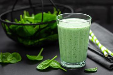 Spinach smoothie. Healthy vegan detox eating. Tasty breakfast beverage