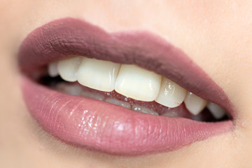 Luxurious bright beautiful female lips made up with lipstick and tint, various shades, matte pink, make-up, for design, set, mock-up.