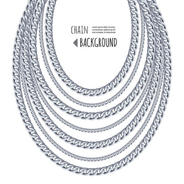 Silver chains necklace abstract background. Jewelry template. Can be used for clothes print. Vector